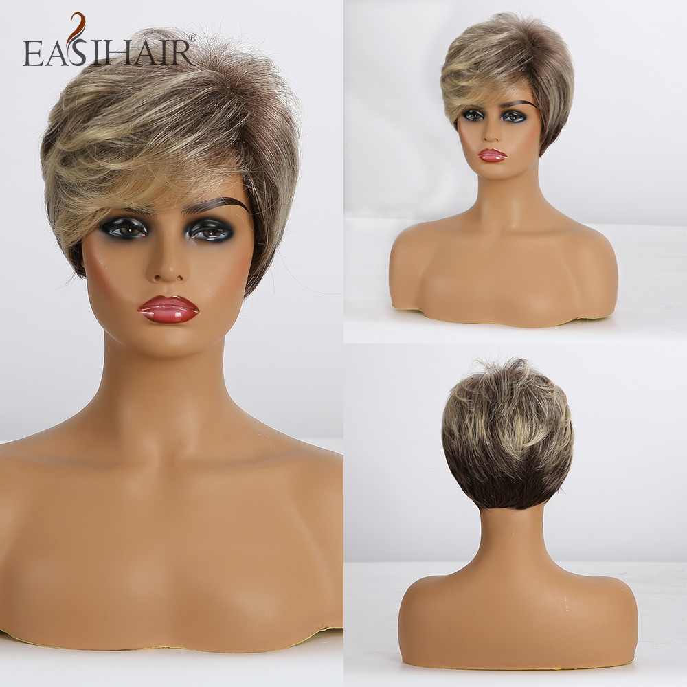EASIHAIR Short Synthetic Wigs for Women Blonde Bob Wigs Layered Natural Hair Cosplay Daily Wigs High Temperature Fiber Full Wigs