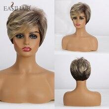 Easihair perucas de cabelo sintético curto, para mulheres, loiro, bob, em camadas, cabelo natural, cosplay, diário, fibra de alta temperatura, cheio