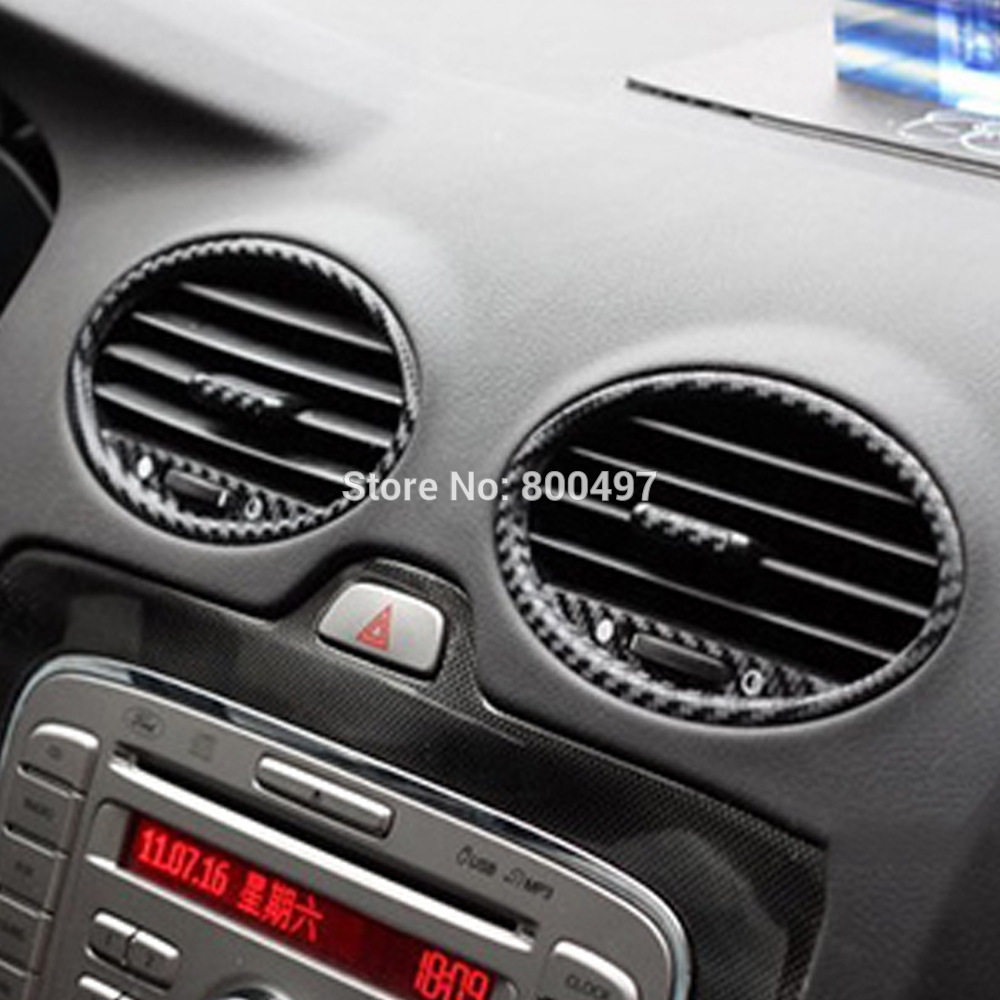 New Car Styling Car Accessory Covers Air condition Vents Carbon Fiber Vinyl Sticker Decorative Decal for Ford Focus MK2-in Car Stickers from Automobiles & Motorcycles