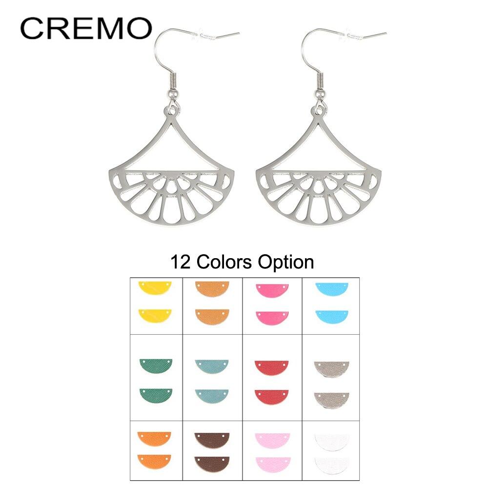 Cremo Stainless Steel Geometric Fan Pendant Earrings For Women Drop Hanging Earrings Georgette Leather Dangle Earrings Jewelry