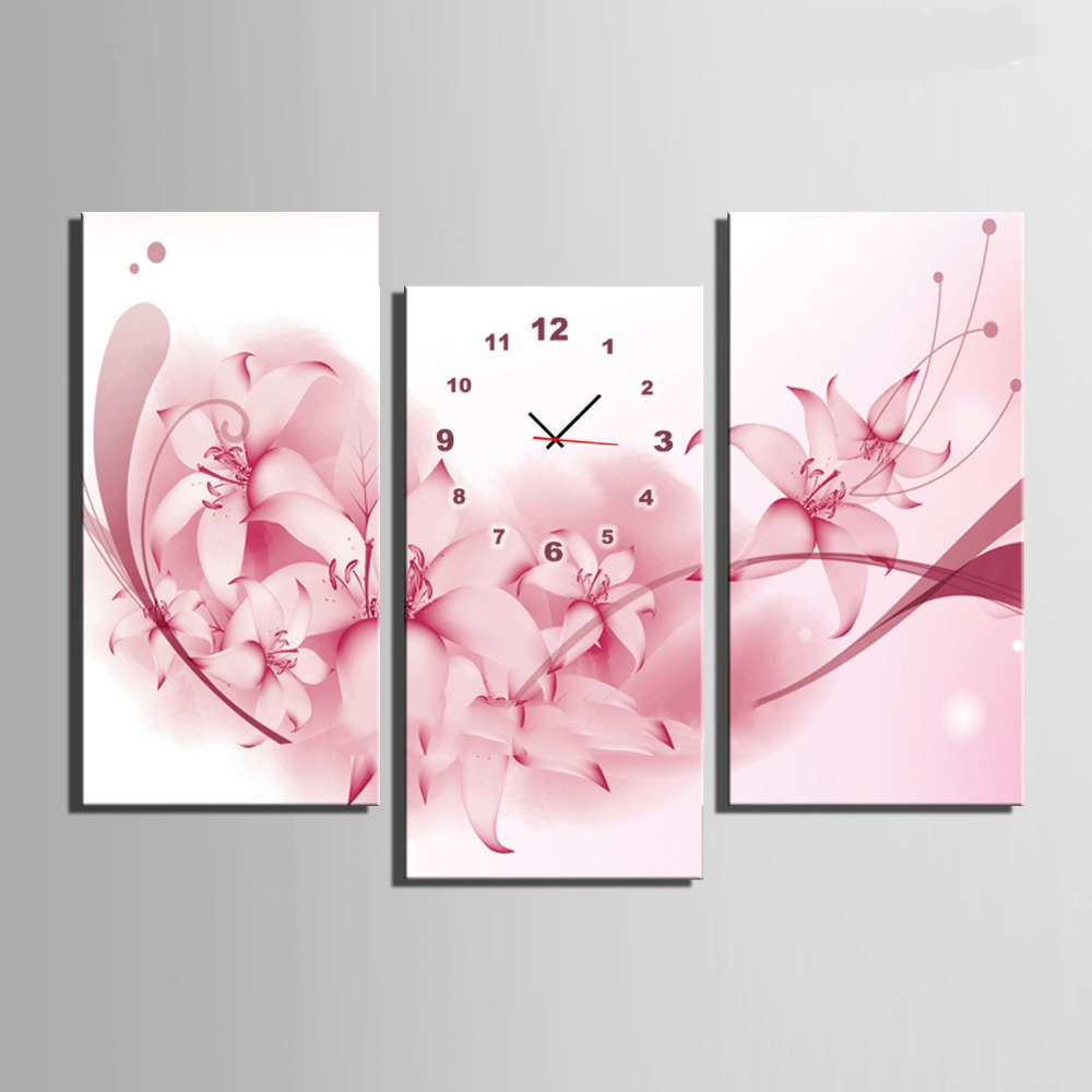 Abstract 3 Piece Unframed Pink Floral Clock Poster Wall Decor Canvas Paunting For Living Room Decoration Prints And Posters