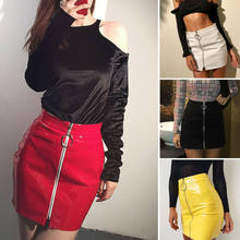 Meihuida 5 Kleur Fashion Mini Rokken Vrouwen Rits Pu Leer Potlood Hoge Taille Mini Rok Sexy Bodycon Office Lady Rok kostuum(China)
