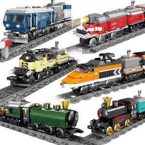 QWZ New Technic Battery Powered Electric Classic City Train Rail Building Blocks Bricks Gift Toys For Children Boys Girls