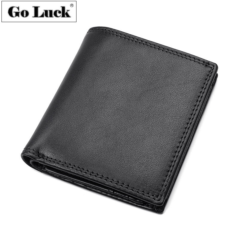 Genuine Leather Simple Style Pocket Wallet Mens Bank ID Credit Card Case Wallets Mens Cash Dollar Purse