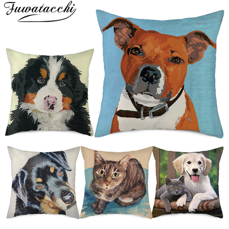 Fuwatacchi Pure Linen Animal Printed Cushion Cover Pet Dog Rabbit Picture Throw Pillow Cover For Home Sofa Decorative Pillowcase