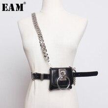 [EAM] Mini cinturón largo con cadena dividida para mujer, cinturón negro de cuero Pu, con personalidad, a la moda, combina con todo, para primavera y otoño, 2020, 1H770