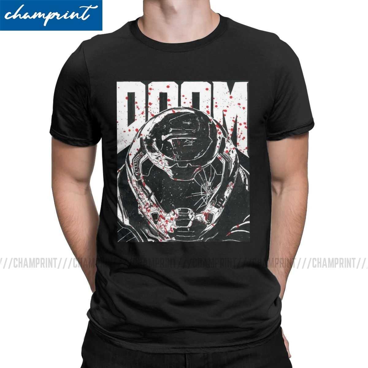 Doom Eeuwige Doomslayer Mannen T Shirts Doomguy Doom Slayer Cacodemon Nieuwigheid Tee Shirt Korte Mouw Ronde Kraag T-shirts