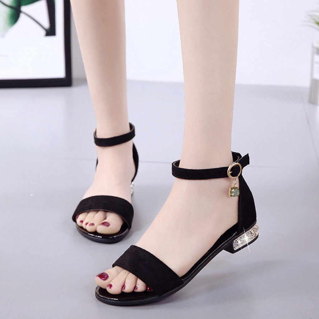 Thời Trang Gót Đế Phẳng Thanh Lịch Peep Toe Giày Sandal PU Gót Vuông Pha Lê Khóa Nữ Giày Sandalias Mujer # S