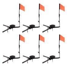 6 pçs dobrável vara de pesca no gelo com bandeira redonda tip-up pesca no gelo bandeira laranja equipamentos de pesca no inverno tackles