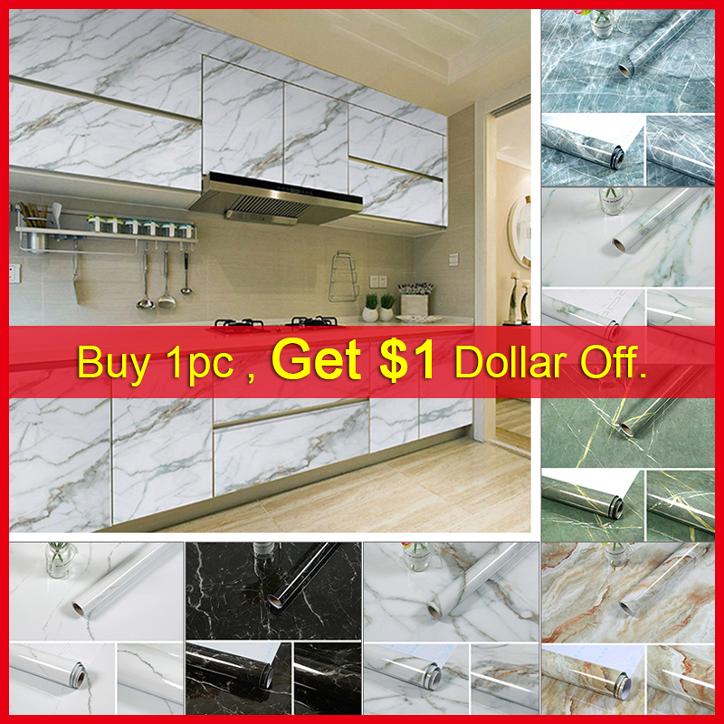 Kitchen Marble Contact Paper PVC Wall Stickers Marble Countertop Stickers Bathroom Self Adhesive Waterproof Wallpaper 3/5Meters