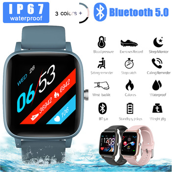 Bluetooth Smart Watch Full Touch Screen Health Tracker Heart Rate Monitor Alarm Message Reminder Sleep Monitor for Android iOS