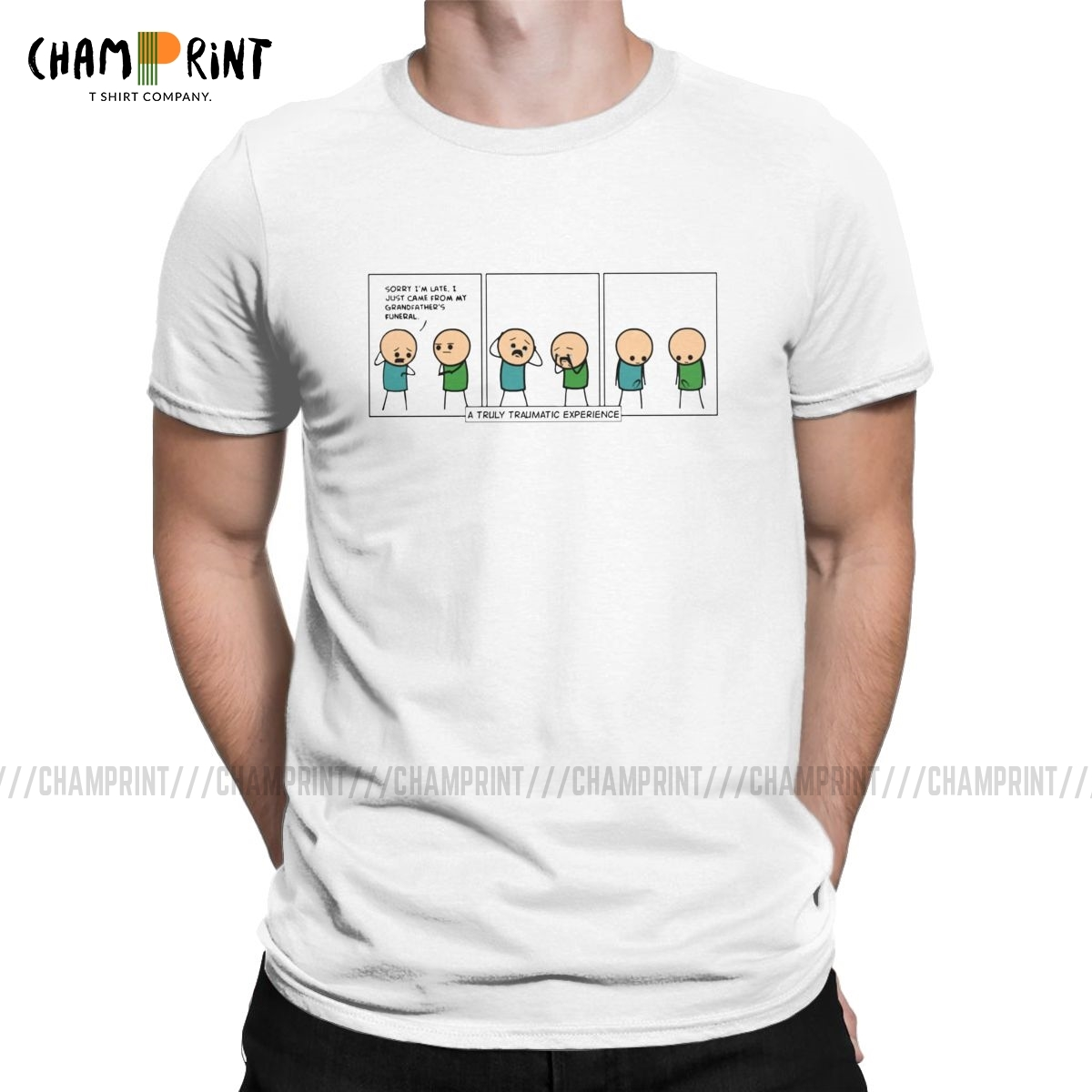 Hipster Cyanide And Happiness Funny Comic T-Shirts for Men Round Neck Pure Cotton T Shirt Short Sleeve Tees Plus Size Tops image