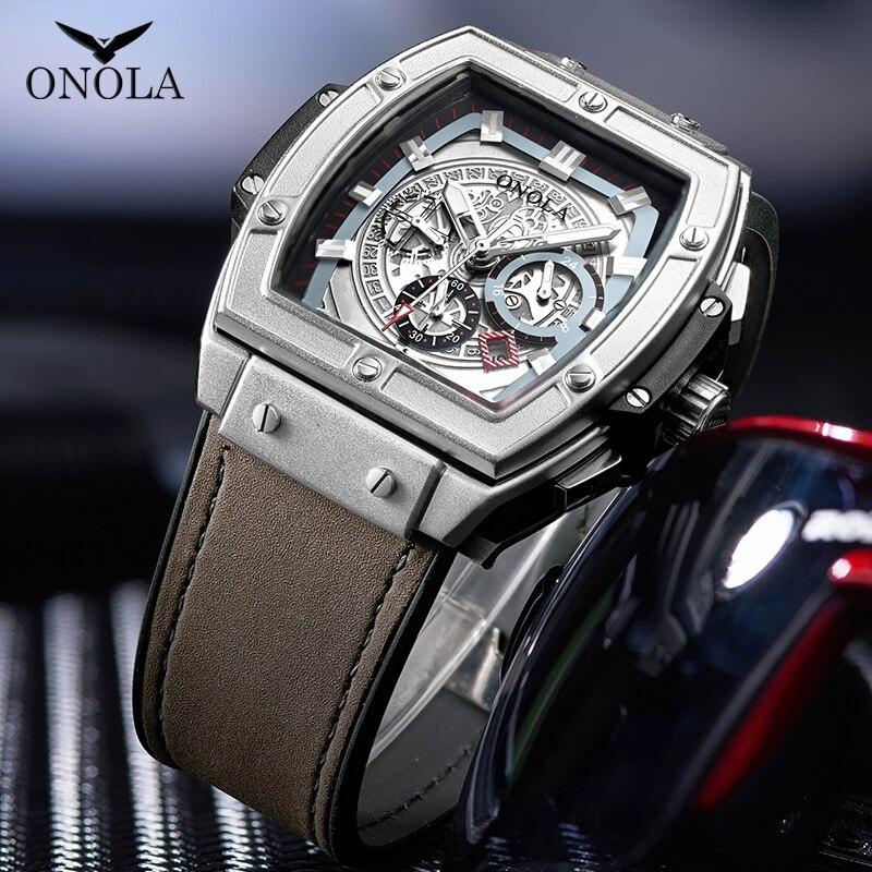 ONOLA Tonneau Square Big Quartz Watch Man 2019 Multifunction Lumious Wristwatch Fashion Casual Cool Original Man Watch