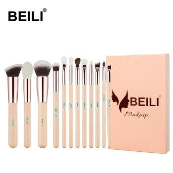 BEILI Pink Goat Hair Essential Foundation Eye shadow Blending Highlight Concealer 12pcs Makeup Brush Set rose golden ferrule 1
