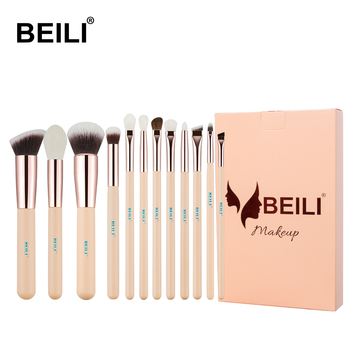 BEILI Pink Goat Hair Essential Foundation Eye shadow Blending Highlight Concealer 12pcs Makeup Brush Set rose golden ferrule
