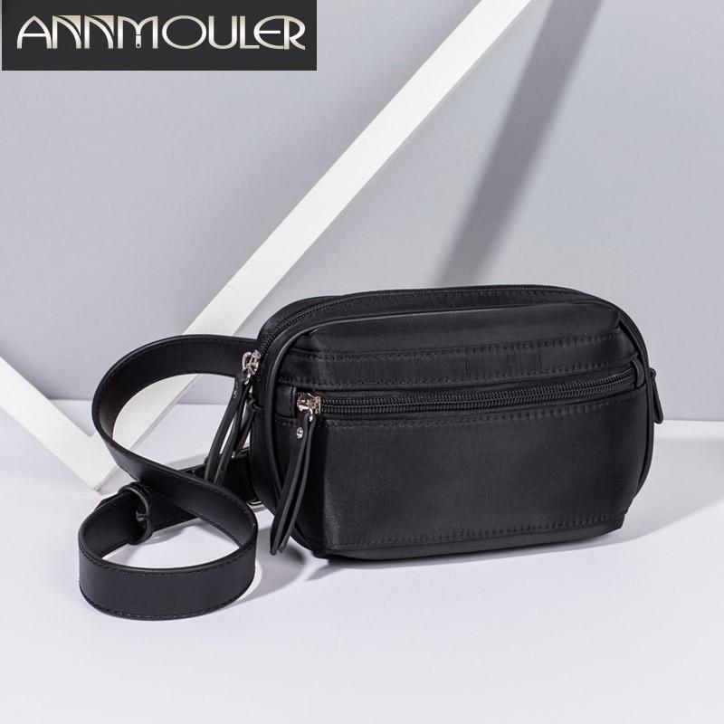 Annmouler Fashion Women Fanny Packs High Quality Nylon Waist Bag Black Zipper Chest Bag For Girl Phone Pouch Adjustable Belt Bag