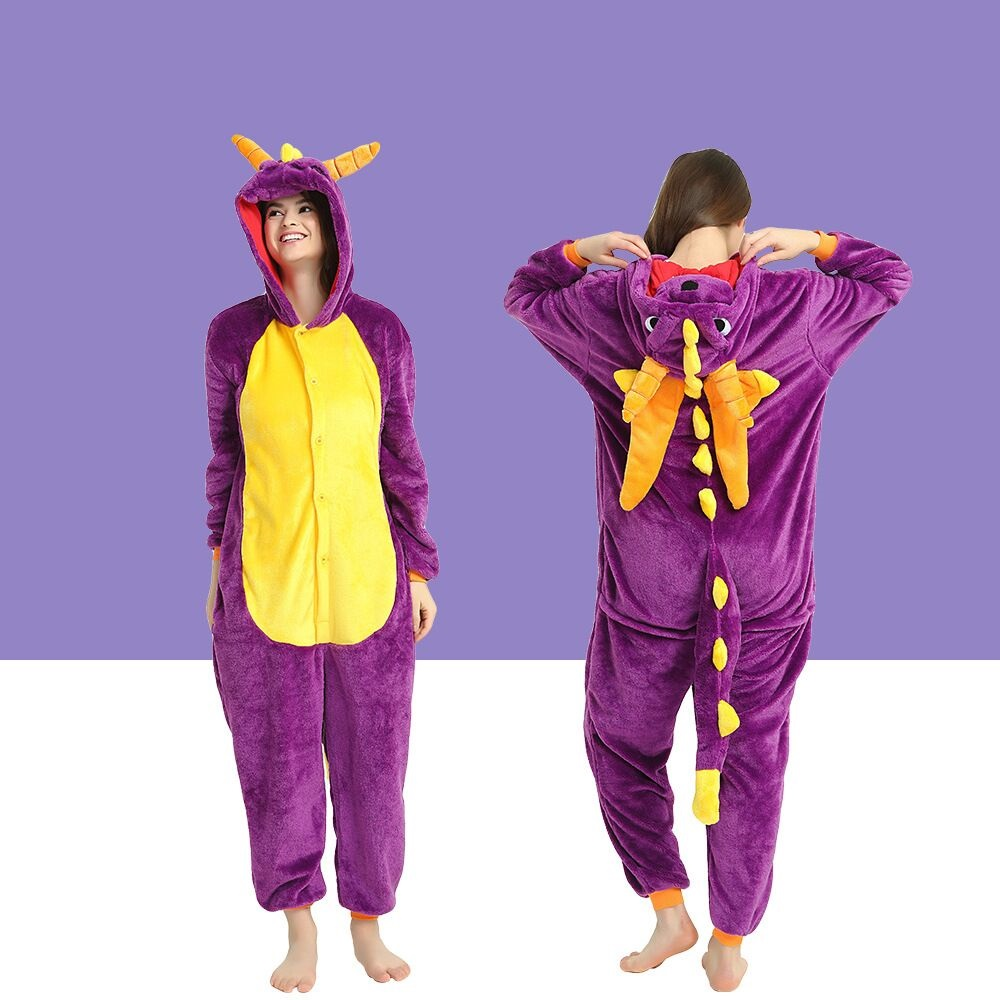 Spyro Pajamas Adult Kids Cosplay Costumes Purple Dragon Onesies For Unisex Dance Fancy Pajamas Party Children's Day Gift Onsie