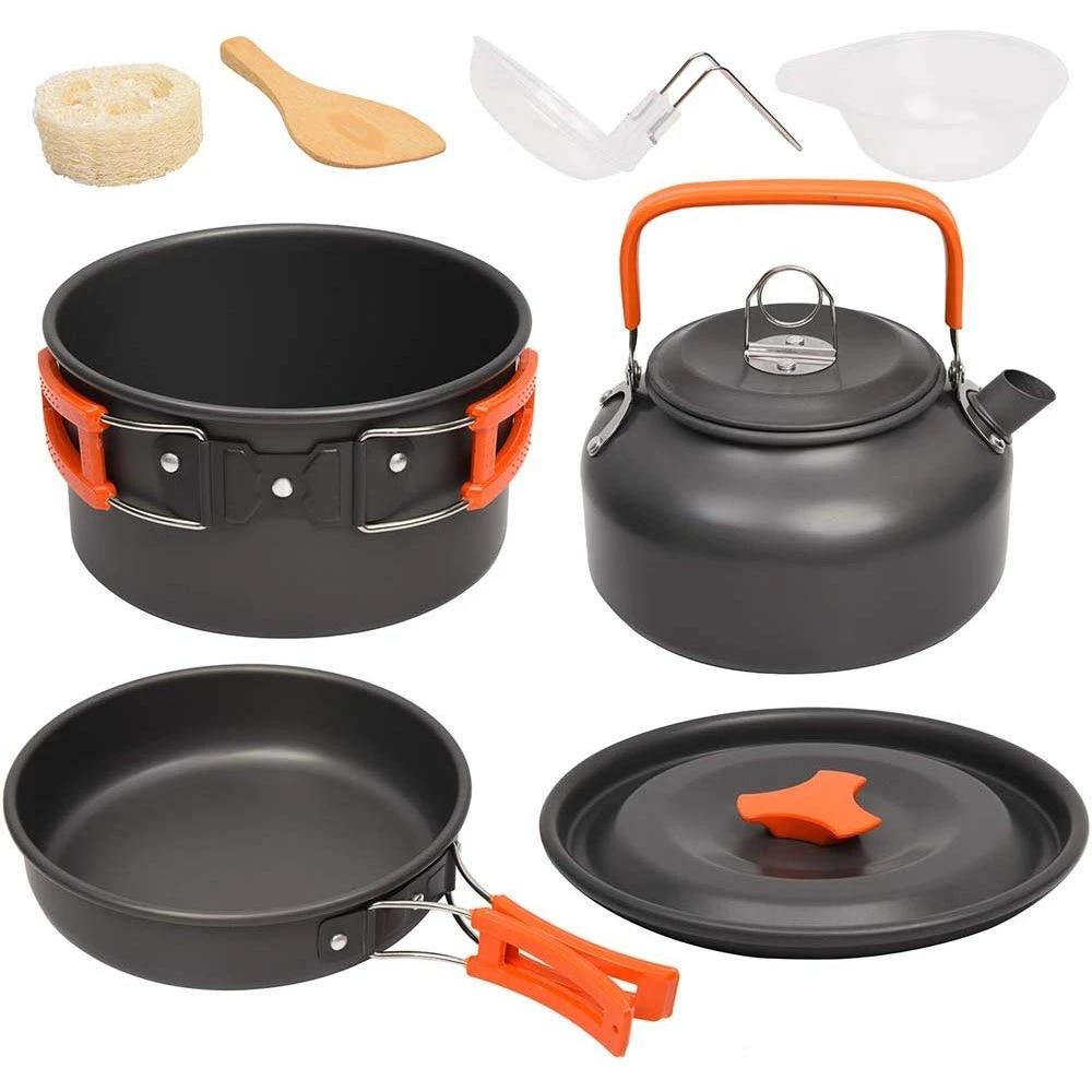 Stainless Steel Camping Hiking Pot Cookware Set Tableware Utensil Kit Pan Kettle
