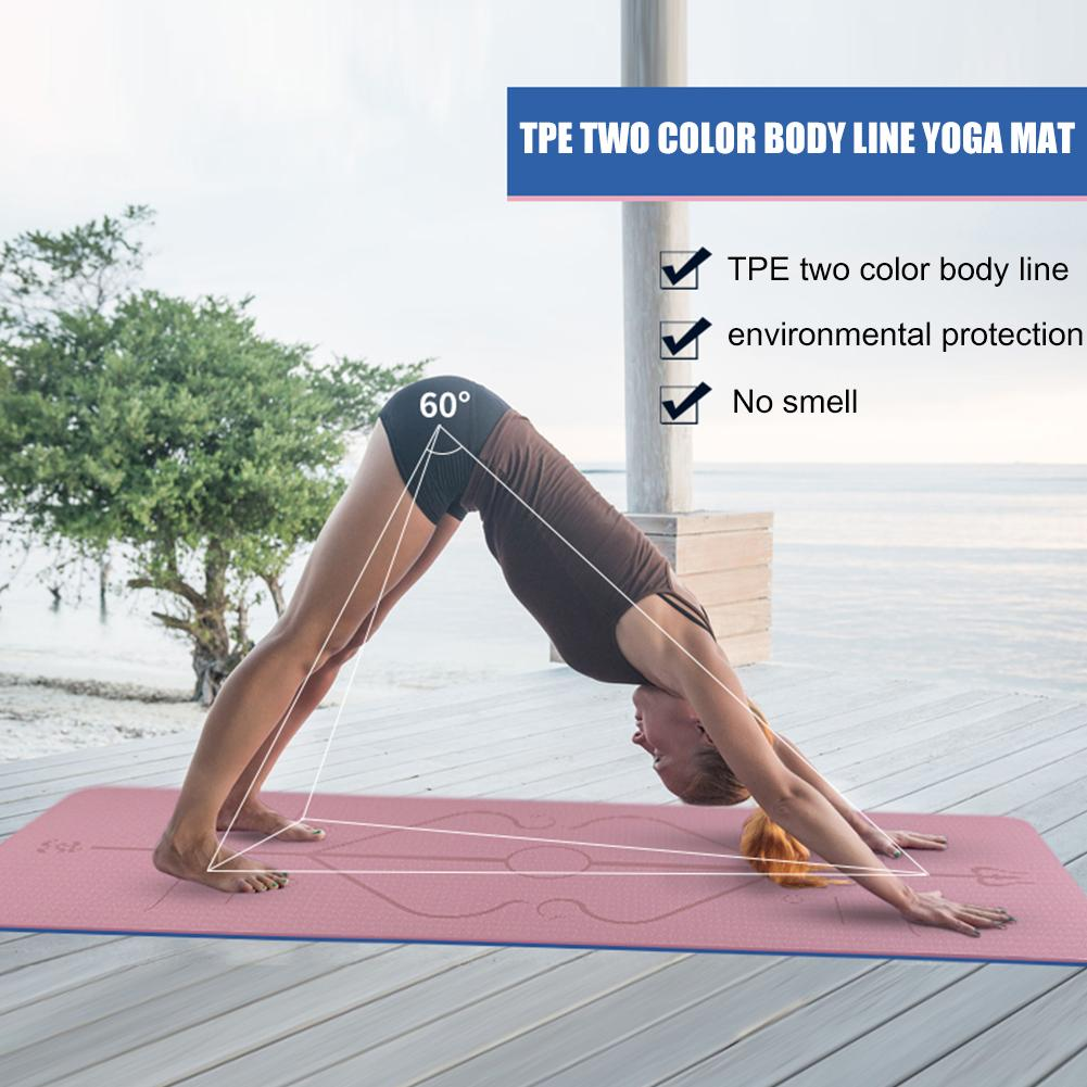 Non-Slip TPE Yoga Mat With Position Line 4