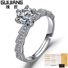 High end S925 серебряное кольцо для женщин один карат яркий огненный цвет циркон обручальное кольцо