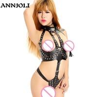ANNJOLI Woman PU Leather Erotic Sex Open Chest Bondage Costume Ladies Fetish Lingerie Exotic Restraint Jumpsuit Fantasy Bodysuit