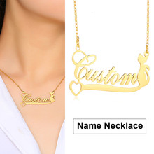 INITIAL NAME NECKLACE CUSTOM PERSONALIZED HEART WITH CAT BOHE CHARM CHOKER(China)