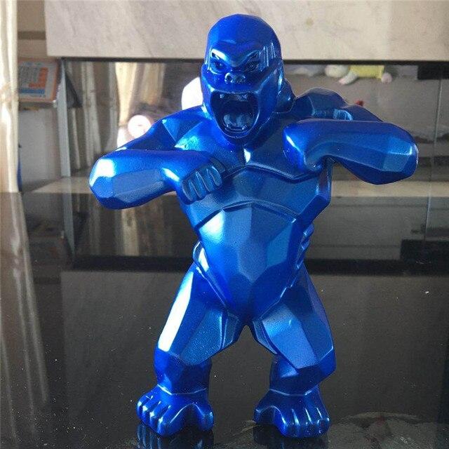 Bleu BINGBINGLIANG Sculpture D/écoration Statue Singe King Kong Salon D/écoration Gorille Sculpture G/éom/étrique Moderne Statue Cadeau danniversaire pour Mariage /À Collectionner