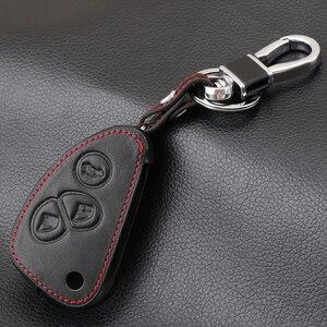 Image 3 - עור אמיתי רכב מפתח כיסוי FOB מקרה עבור אלפא רומיאו 147 156 166 GT JTD TS Flip מרחוק רכב מפתח מעיל ארנק תיק רכב stying