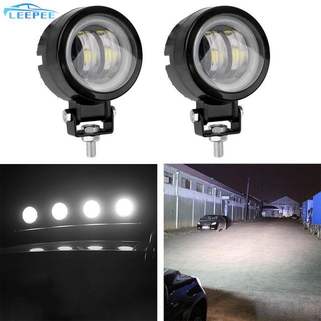 White/blue Motorcycle Offroad Truck Driving Car Boat Bar Lights Portable Spotlights 20W 12V 24V 6000K Waterproof Round LED Night