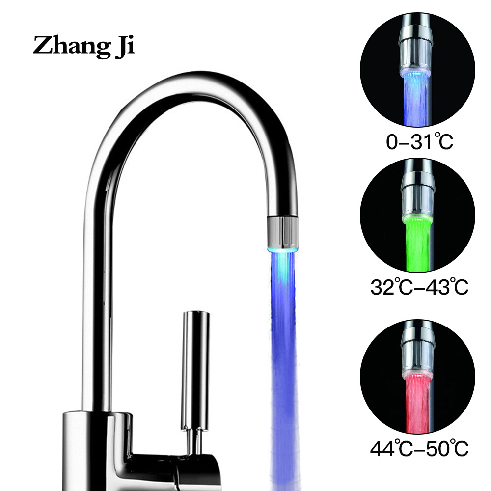 ZhangJi 3 Color LED Light Faucet Aerator Temperature Sensitive with Adapter Kitchen Bathroom Water Saving LED Faucet Connector