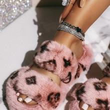 Pantoufles d'hiver en fourrure d'intérieur pour femmes, chaussures de luxe décontractées, semelle plate en peluche douce et moelleuse, talon plat antidérapant