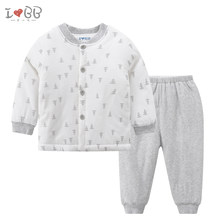 Infant Sleepers Set Boys Pajamas Winter Warm Sleepwear Cotton Button Long Sleeve Unisex(China)