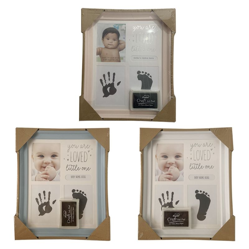 Baby Kids Birthday Gift Newborn Hand Foot Print Ornaments 12 Months Photo Frame Size: App.23 X 27.5 Cm