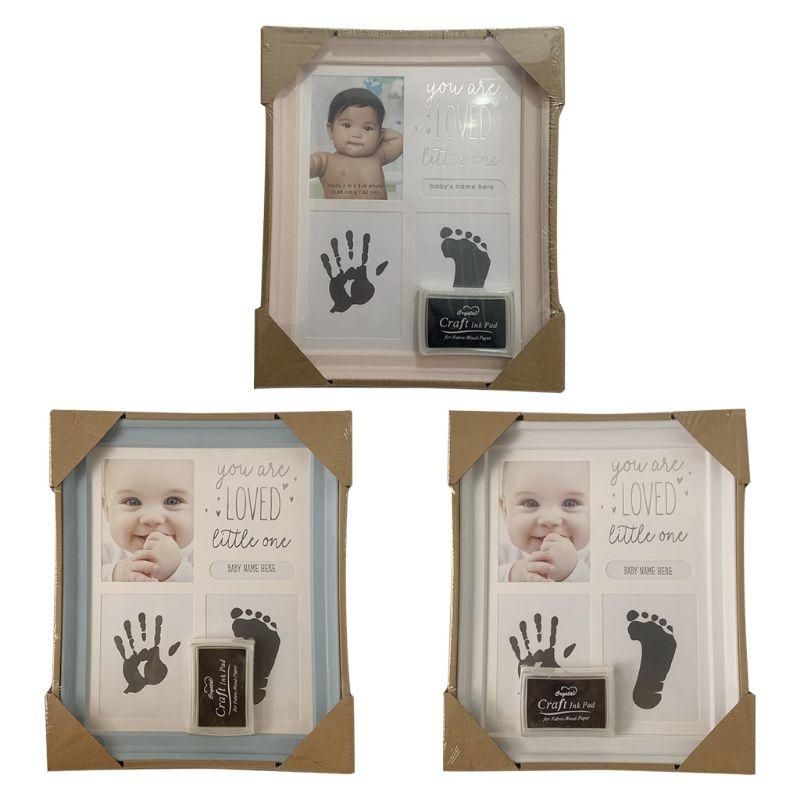 Baby Kids Birthday Gift Newborn Hand Foot Print Ornaments 12 Months Photo Frame Size: App.23 X 27.5 Cm