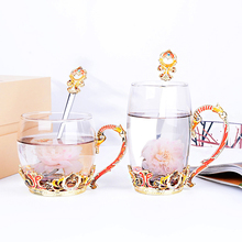 Color Enamel glass water mug home coffee cup flower tea milk cup nice gift cups fashion Alloy handle heat-resistant glass cup beauty and novelty enamel coffee cup mug flower tea glass cups for hot and cold drinks tea cup spoon set perfect wedding gift