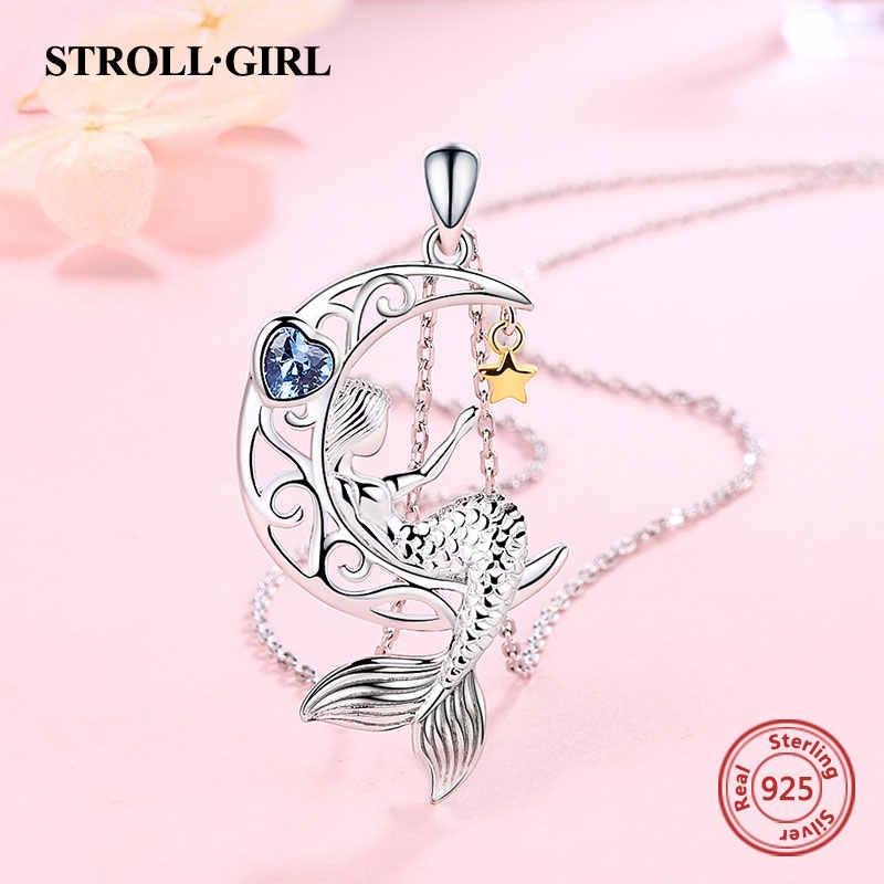 Strollgirl 새로운 925 스털링 실버 아름다운 인어 펜던트 체인 지르콘 문 스타 목걸이 여성 패션 쥬얼리 무료 배송