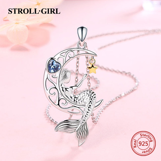 Strollgirl New 925 Sterling silver beautiful Mermaid pendant chain zircon moon star necklace for Women Fashion Jewelry free ship