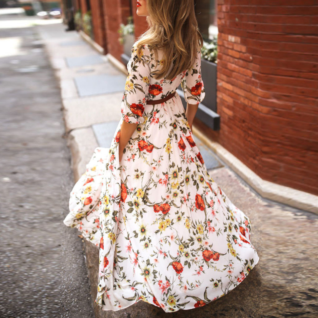 Fashion Summer Dress Women Casual Half Sleeve Boho Dresses Swing Floral Printed Holiday Floor Length Dresses
