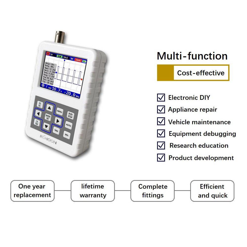 Osciloscópio handheld digital do tamanho da palma de kkmoon 2031 h mini osciloscópio com largura de banda de 30 m 200 ms/s taxa de amostragem com sonda p6100