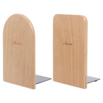 1pc natura drewniany Bookend organizer na biurko pulpit biuro strona główna Bookends antypoślizgowa książka kończy stojak uchwyt półka tanie i dobre opinie Drewna