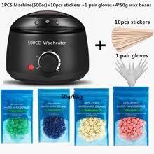 Elétrica 500cc w ax wax wax wax-aquecedor de feijão de cera 10 pçs conjuntos de adesivos de madeira depilação kit cera depilador