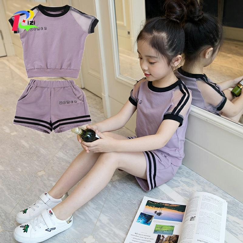 Girls Set 2019 Summer Suit 4 New 5 Children Dress 6 Girls 7 Fashionable 8 Gas 9 Clothes Tide Child 10 Years Old