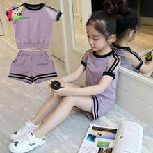 Girls set 2020 Summer Suit 6 New 7 Children Dress 8 Girls 9 Fashionable 11 Gas 12 Clothes Tide Child 10 Years Old(China)