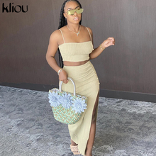 Kliou women casual 2 piece outfits sleeveless camisole blackless crop top button split dress solid matching set fashion clothes