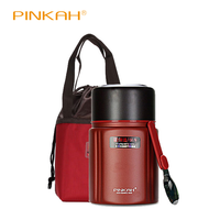 Pinkah 750M Lunch Box With Bag Portable 2 Laye 304 Stainless Steel Vacuum Thermos Food Jar Keep Hot Up To 24H Thermos With Spoon|Lunch Boxes| |  -