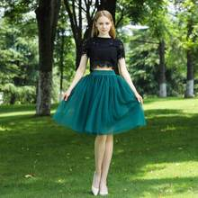 High Waist 7 Layer Midi Tulle Skirt Tutu Skirts Womens Petticoat Elastic Belt Summer faldas saia jupe 2019(China)