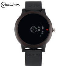 YISUYA Minimalist Turntable Wood Watch Unique Fan-shaped Dial Art Design Wooden Watch Quartz Leather Band Male Wristwatch reloj wooden couple watch quartz leather band handmade walnut wood watches hollow dial valentine s day lover gift reloj para parej