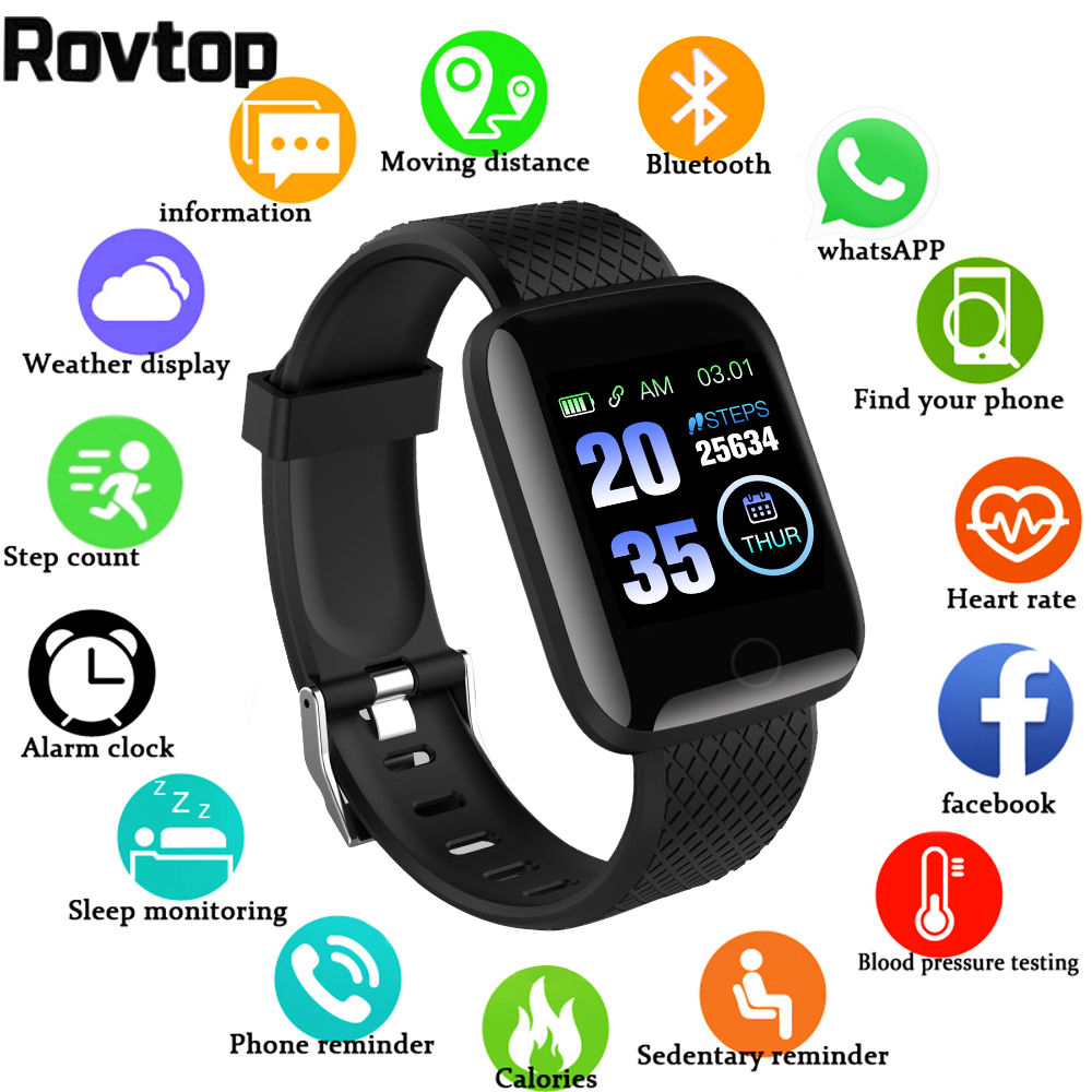Pedometer Wristband Smart-Watch Blood-Pressure Fitness Sports Android 116-Plus Call-Message-Reminder