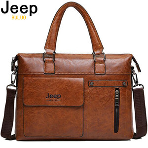 Image 1 - Famous Designer JEEP BULUO Brands Men Business Briefcase PU Leather Shoulder Bags For 13 Inch Laptop Bag big Travel Handbag 6013