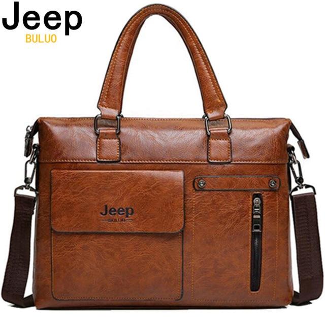 ที่มีชื่อเสียงJEEP BULUOแบรนด์ผู้ชายธุรกิจกระเป๋าเอกสารPUหนังไหล่กระเป๋าสำหรับ 13 นิ้วกระเป๋าแล็ปท็อปกระเป๋าเดินทางกระเป๋าถือBig 6013